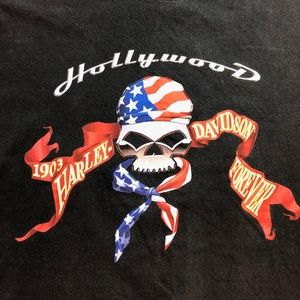 Harley Davidson Motorcycle Skull T Shirt Hollywood